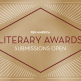 """""""PEN America Literary Awards Submissions Open in centered text; white rays sticking out from each corner on a gold background"""