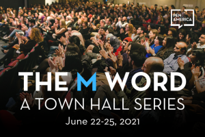 """Photo of crowd from an M Word event; text on top: """"The M Word: A Town Hall Series. June 22-25, 2021"""""""