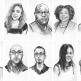 Collage of illustrations of 2021-2022 Writing for Justice Fellows