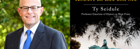 """Ty Seidule headshot and """"Robert E. Lee and Me"""" book cover"""