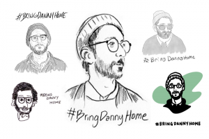 Collage of several Danny Fenster illustrations