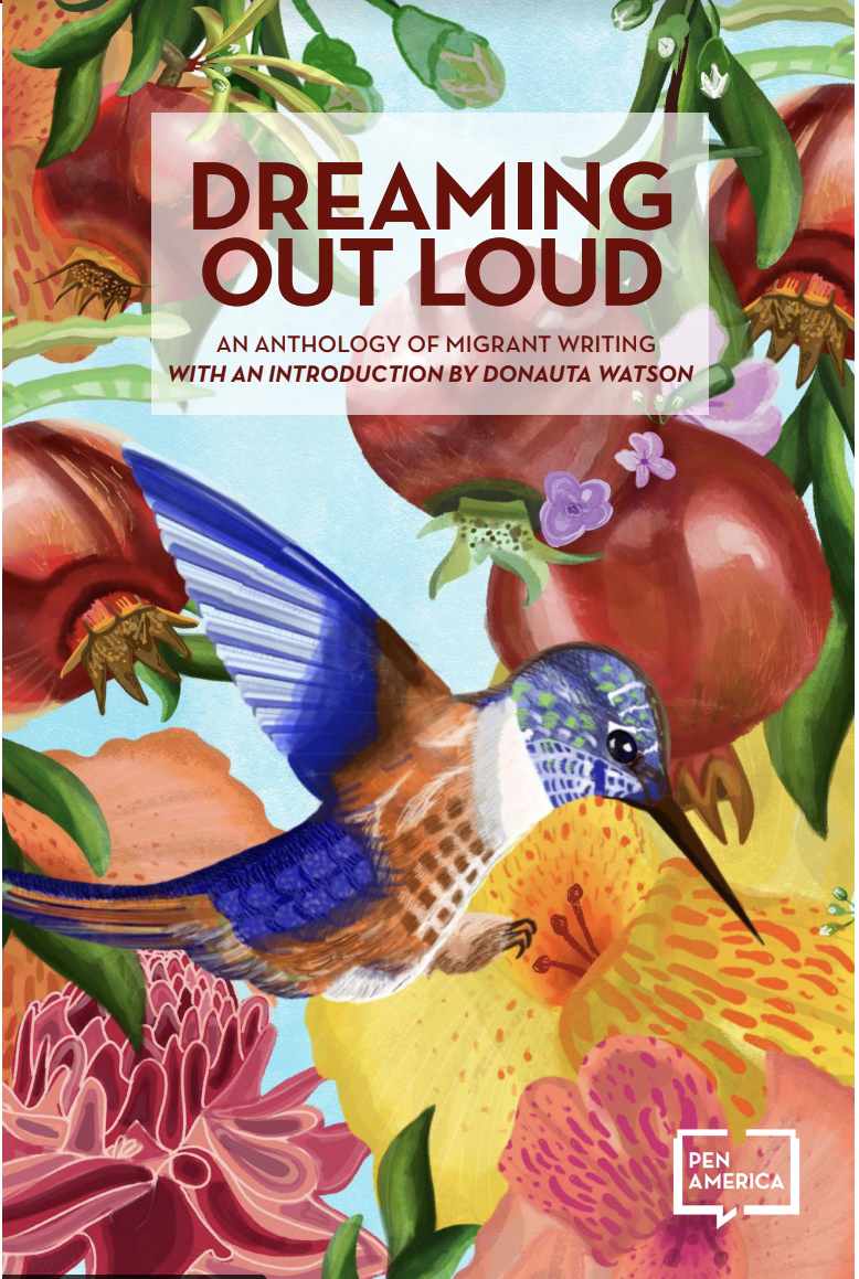 """Illustration of a bird and flowers with text overlay reading """"DREAMING OUT LOUD"""""""