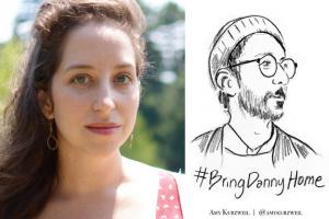 Amy Kurzweil headshot on left; on right: illustration of Danny Fenster