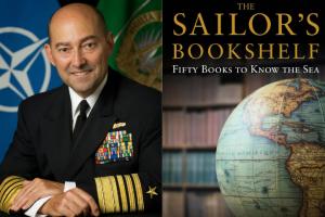 "James Stavridis headshot and ""The Sailor's Bookshelf"" book cover"