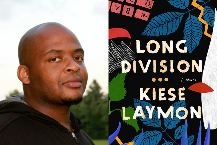 """Kiese Laymon headshot and """"Long Division"""" book cover"""