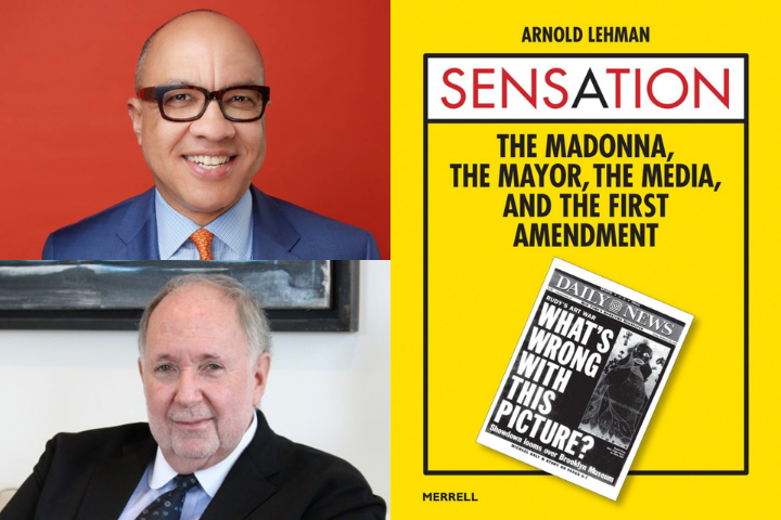 Darren Walker and Arnold Lehman headshots on left; on right: Sensation book cover