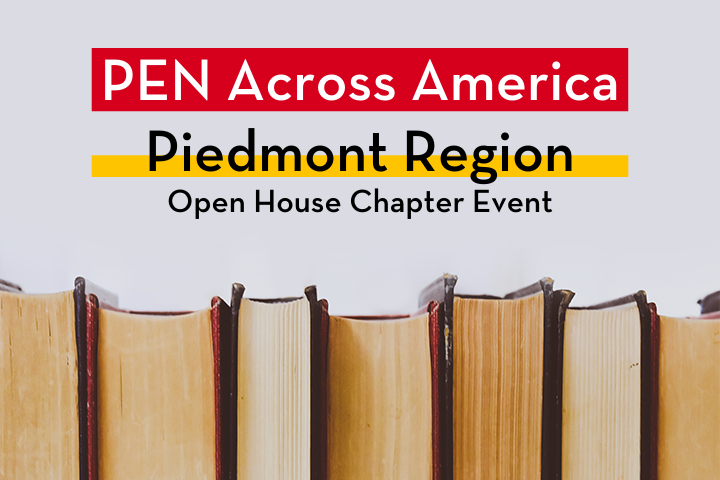 """Row of books; on top: """"PEN Across America Piedmont Region Open House Chapter Event"""""""