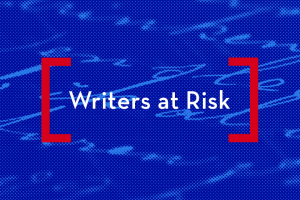 """stylized image of handwriting on a page; on top: """"Writers at Risk"""""""