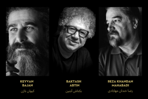 """2020 PEN/Barbey Freedom to Write Award"" on top; below, headshots and names of Keyvan Bajan, Baktash Abtin, and Reza Khandan Mahabadi"