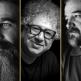 Headshots of Keyvan Bajan, Baktash Abtin, and Reza Khandan Mahabadi