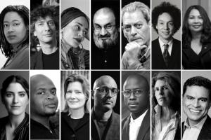 Collage of headshots in two rows: N.K. Jemisin, Neil Gaiman, Zadie Smith, Salman Rushdie, Paul Auster, Malcolm Gladwell, and Tammy Duckworth (first row); Suleika Jaouad, Kiese Laymon, Jennifer Egan, Ayad Akhtar, Barry Jenkins, Jean Hanff Korelitz, and Fareed Zakaria (second row)