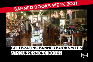 """Snapshot of interior of Scuppernong Books; on top: """"Banned Books Week 2021"""" in a red banner and """"Celebrating Banned Books Week at Scuppernong Books"""""""