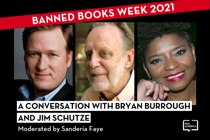 """Headshots of Bryan Burrough, Jim Schutze, and Sanderia Faye; on top: """"Banned Books Week 2021"""" in a red banner and """"A Conversation with Bryan Burrough and Jim Schutze moderated by Sanderia Faye"""""""