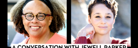 """Headshots of Jewell Parker Rhodes and Kelly McWilliams; on top: """"Banned Books Week 2021"""" in a red banner and """"A Conversation with Jewell Parker Rhodes and Kelly McWilliams"""""""