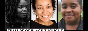 """Headshots of Dr. Blair LM Kelley, Jennifer Christine Nash, and Danielle Purifoy; on top: """"Banned Books Week 2021"""" in a red banner and """"Erasure of Black Thought: A Conversation about Critical Race Theory with Black Academics and Writers"""""""