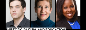 """Headshots of James Tager, Dr. Anne Hyde, and Carlisha Williams Bradley; on top: """"Banned Books Week 2021"""" in a red banner and """"History, Racism, and Education moderated by James Tager"""""""