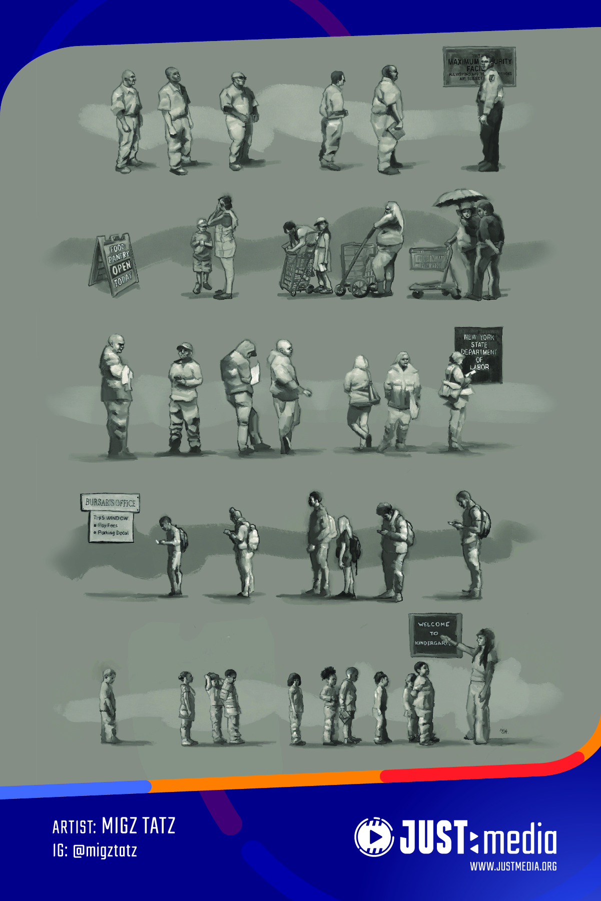 Poster with people standing and waiting in a variety of single file lines