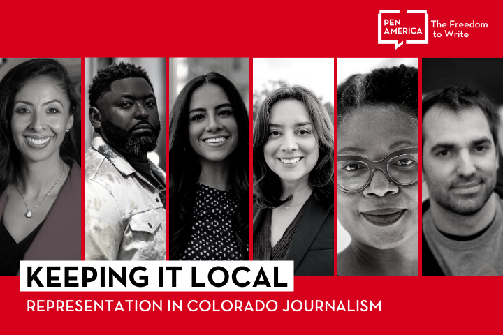 """Speaker headshots on red background and """"Keeping it Local: Representation in Colorado Journalism"""" on a white background with the PEN logo in white in the upper right corner"""