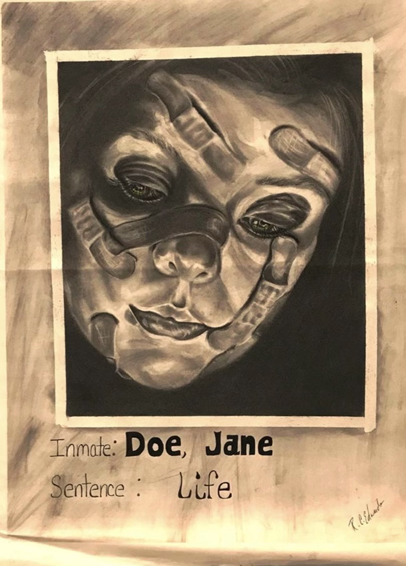 A face covered in bandages looks down toward text that reads,