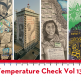 """Collage of images: Illustration of a person sitting wearing a mask that reads, """"Who cares?"""", Freedom Constellations public art installment, illustration of a woman crying in the foreground with an ID card that reads """"caged"""" attached to her shirt, and a poster of compiled images of protest; at the bottom: """"Temperature Check Vol 13."""""""