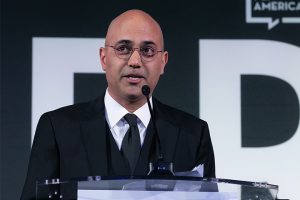 Ayad Akhtar speaking at the lectern at the 2021 PEN America Literary Gala