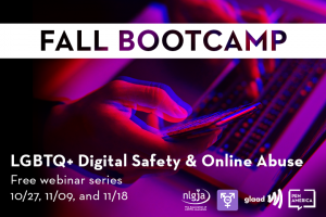 """A person holding a cell phone and using their other hand on their laptop keyboard in red and blue overlaying a black background; on top: """"LGBTQ+ Digital Safety & Online Abuse. Free webinar series, 10/27, 11/09, and 11/18."""" and logos of NLGJA, TJA, GLAAD, and PEN America"""