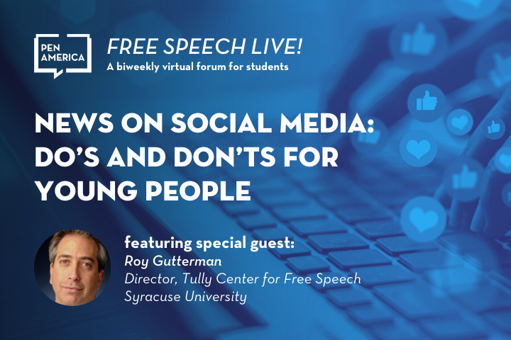 """Keyboard and social media thumbs up and heart icons in background; on top: """"Free Speech Live! A biweekly virtual forum for students. News on Social Media: Do's and Don'ts for Young People featuring special guest Roy Gutterman"""""""