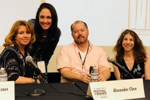 Michelle Franke posing with Samantha Dunn, Alexander Chee, and Nell Scovell