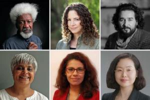 Headshots of Wole Soyinka, Karima Bennoune, Omaid Sharifi, Pragna Patel, Mariz Tadros, and Hiroko Tsuboi-Friedman