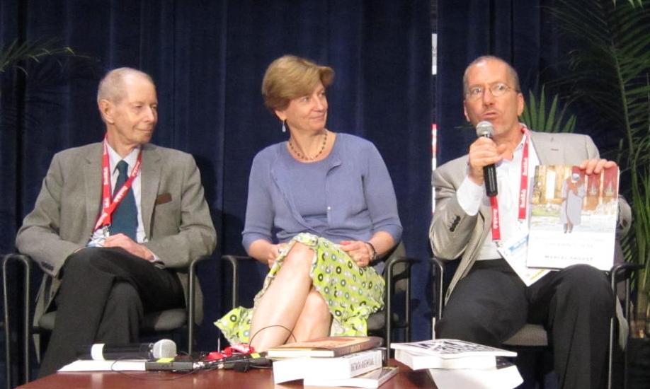 Panel 1: [From left] Burton Pike, Tess Lewis, Robert Weil